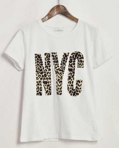 White Short Sleeve NYC Pattern T-Shirt