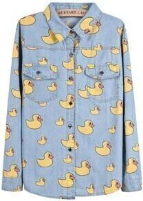 Light Blue Lapel Long Sleeve Yellow Duck Print Denim Blouse