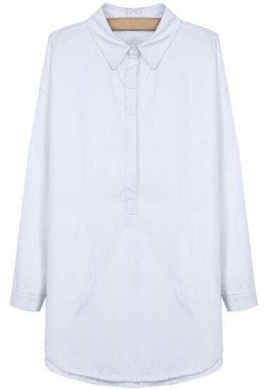 White Lapel Long Sleeve Classic Loose Blouse