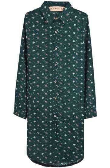 Green Lapel Long Sleeve Floral Pockets Dress
