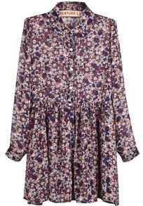 Purple Long Sleeve Floral Pleated Chiffon Dress