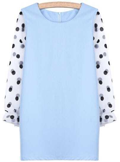 Blue Contrast Polka Dot Long Sleeve Straight Dress
