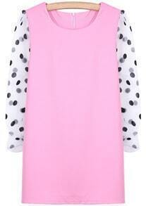 Pink Contrast Polka Dot Long Sleeve Straight Dress