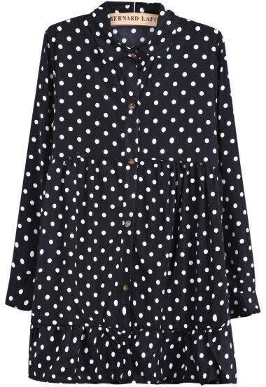 Black Lapel Long Sleeve Polka Dot Pleated Dress