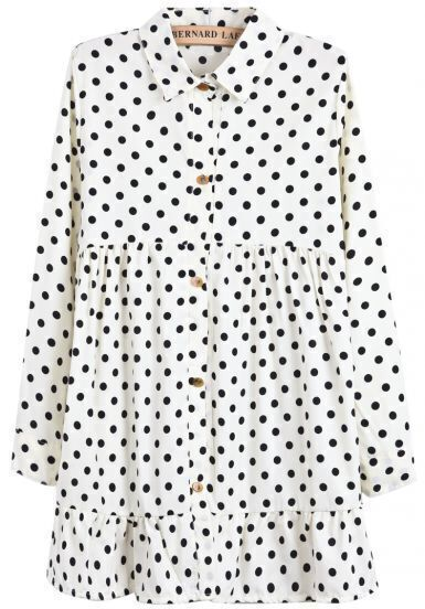 Apricot Lapel Long Sleeve Polka Dot Pleated Dress