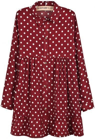 Red Lapel Long Sleeve Polka Dot Pleated Dress
