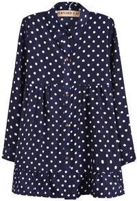 Blue Lapel Long Sleeve Polka Dot Pleated Dress