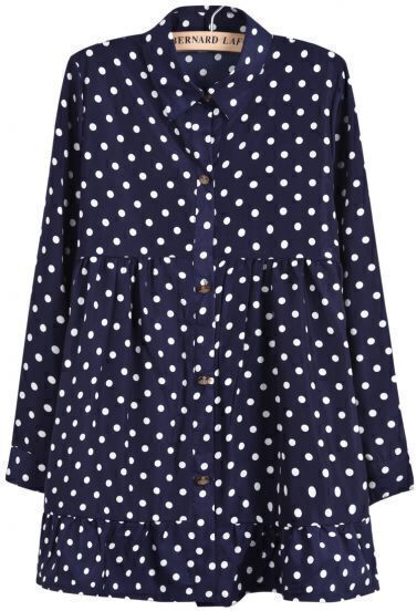 Blue Lapel Long Sleeve Polka Dot Pleated Dress