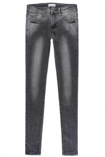 Black Elastic Bleached Pockets Denim Pant