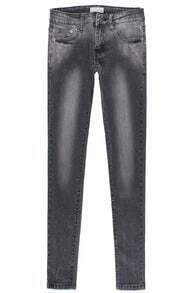 Black Elastic Bleached Pockets Denim Pant