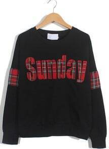 Black Long Sleeve Sunday Print Loose Sweatshirt