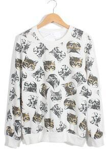 White Long Sleeve Cats Print Loose Sweatshirt
