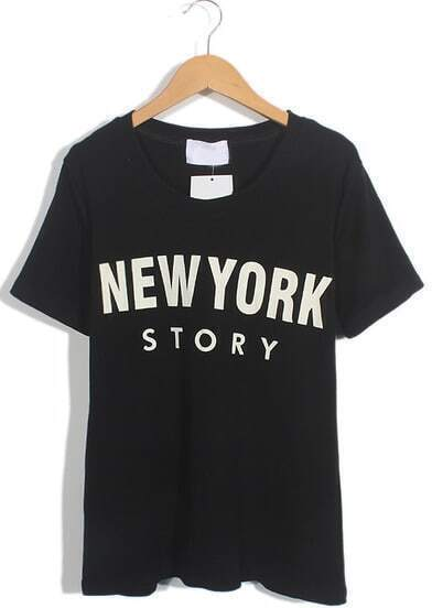 Black Short Sleeve NEW YORK STORY Print T-Shirt