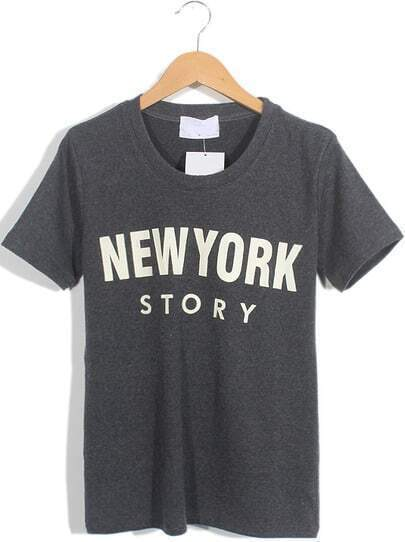 Dark Grey Short Sleeve NEW YORK STORY Print T-Shirt