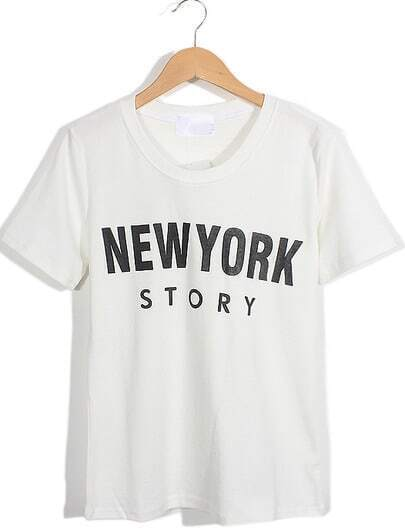 White Short Sleeve NEW YORK STORY Print T-Shirt