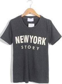 Dark Grey Short Sleeve NEW YORK STORY Print T-Shirt