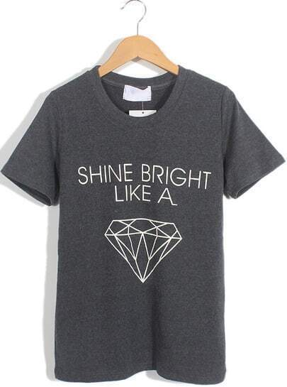 Dark Grey Short Sleeve Letters Diamond Print T-Shirt