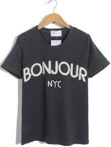Dark Grey Short Sleeve BONJOUR Print Loose T-Shirt