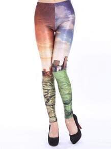 Yellow Slim Extreme Weather Print Leggings