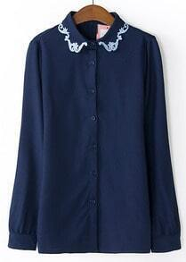Blue Embroidered Lapel Long Sleeve Blouse