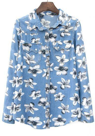 Blue Lapel Long Sleeve Floral Denim Blouse