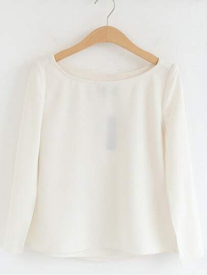 Apricot Split Long Sleeve Chiffon Blouse