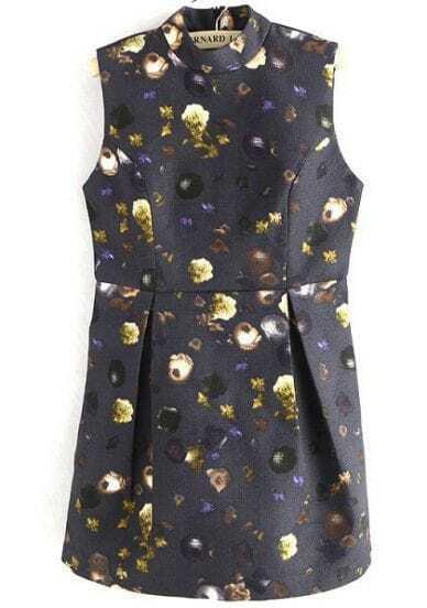 Black Stand Collar Vintage Floral Dress