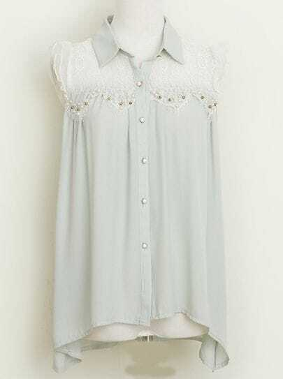 Green Lapel Sleeveless Lace Chiffon Blouse