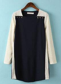 Navy Contrast Lace Long Sleeve Buttons Dress