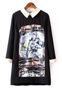 Black Long Sleeve Horse Print Loose Dress