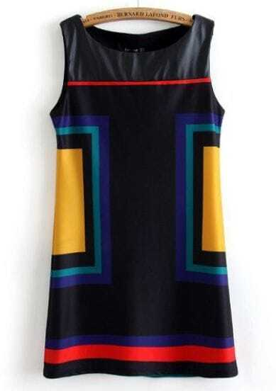 Black Contrast PU Leather Sleeveless Dress