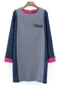 Grey Contrast Navy Long Sleeve Zipper Straight Dress