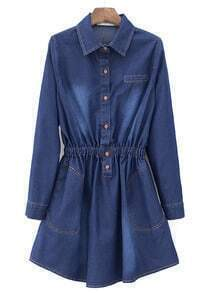 Blue Lapel Long Sleeve Slim Pleated Denim Dress