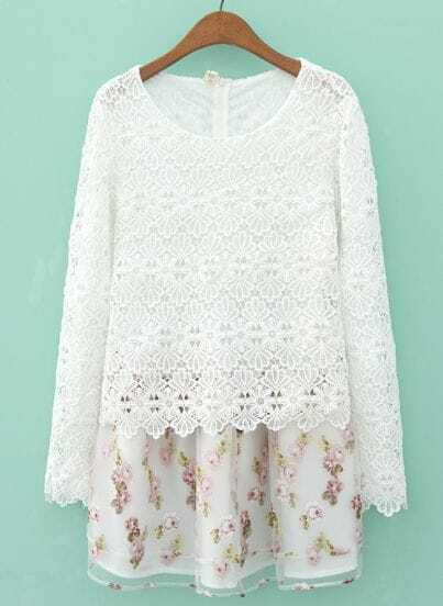 White Long Sleeve Contrast Organza Floral Dress