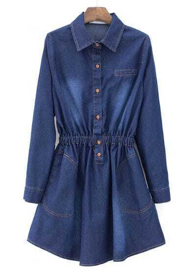 Blue Lapel Long Sleeve Slim Pleated Denim Dress
