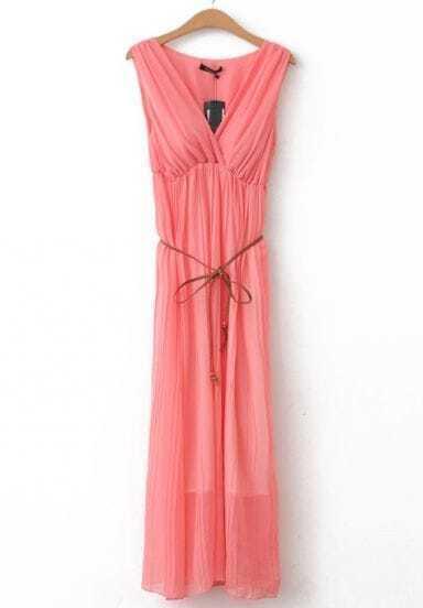 Red V Neck Sleeveless Slim Pleated Chiffon Dress