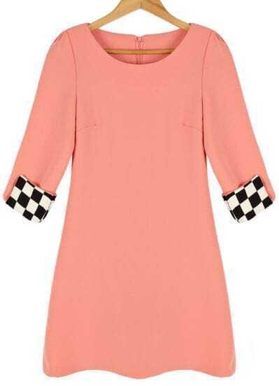 Pink Round Neck Contrast Plaid Cuff Slim Dress