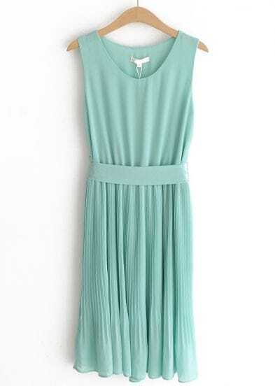 Green Round Neck Sleeveless Pleated Chiffon Dress