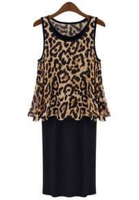 Leopard Round Neck Ruffle Tank Dress