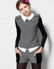 Grey Contrast Long Sleeve Epaulet Top With Shorts