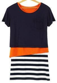 Navy Contrast Orange Asymmetrical Top With Striped Skirt