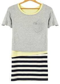 Grey Contrast Yellow Asymmetrical Top With Striped Skirt