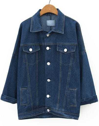 Navy Lapel Batwing Long Sleeve Denim Coat