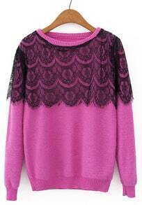 Rose Red Long Sleeve Contrast Lace Sweater