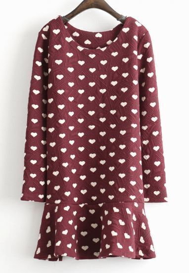 Wine Red Long Sleeve Geometric Pattern Ruffle Dress