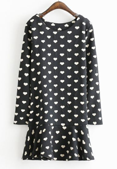 Black Long Sleeve Geometric Pattern Ruffle Dress