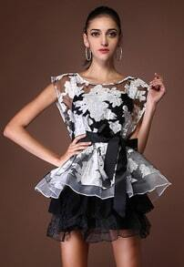 Black Cap Sleeve Floral Embroidery Organza Ruffle Dress