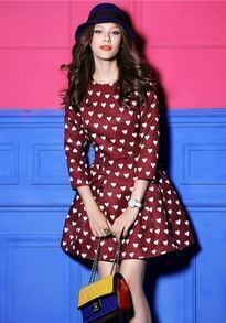Red Long Sleeve Heart Pattern Ruffle Dress