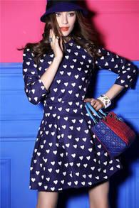 Blue Long Sleeve Heart Pattern Ruffle Dress