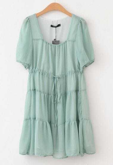 Green Short Sleeve Drawstring Dress